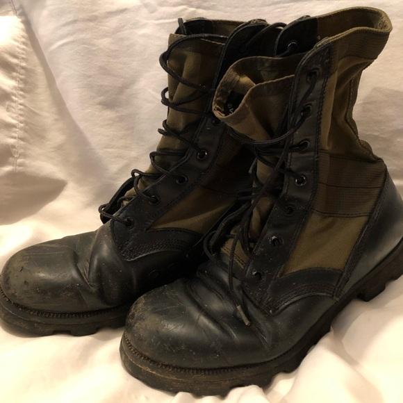 0d7f5d1f885 Altama green canvas black leather jungle boots